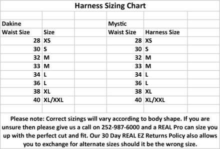 Kite Harness Size Chart
