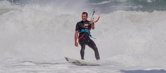 REAL Teamrider Jason Slezak is always stoked to kite in the surf.