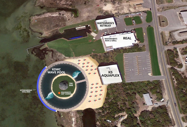 REAL Aquaplex expansion with Kelly Slater Wave Company Wave Pool, restaurant and bar.
