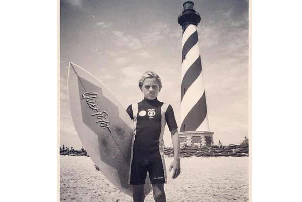 A young Kelly Slater at the Cape Hatteras Lighthouse in Buxton.