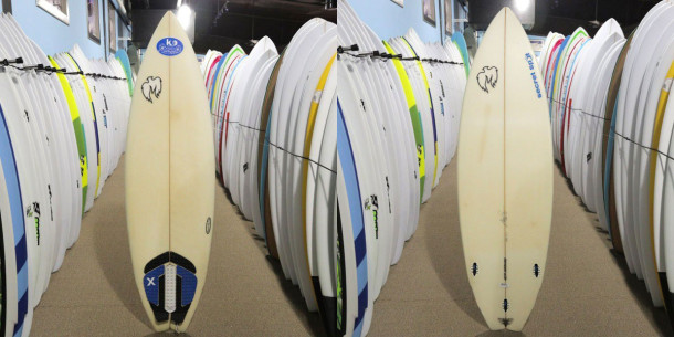 A 2-star surfboard looks well-loved, but is watertight and ready to ride.