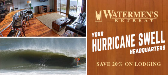 Cory Lopez, Torrey Meister, and Josh Mulcoy don't always surf the Outer Banks, but when they do, they prefer lodging at Watermen's Retreat.