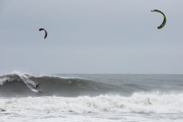 Ian Aldredge dropping into a set wave. Photo by Nate Appel