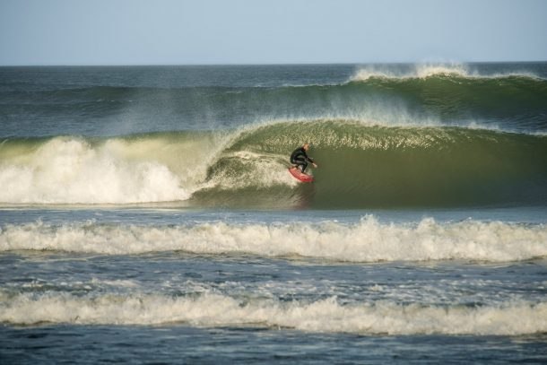 Hatteras Island Native, Joey Crum waits for the swell at home, and slays when it's on! | Photo by Ashlon Durham