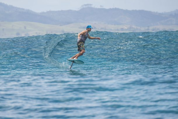 Namotu Island Resort, Nadi, Fiji (Friday, November 11 2016): The swell had dropped back this morning to the 2' plus range. Namotu Lefts and Swimming Pools were the pick of the spots for the guests. The Trade Winds came in around lunchtime but stayed light most of the day. The boys took the foil board out the the Pools Bombe and caught a few waves. Photo: joliphotos.com