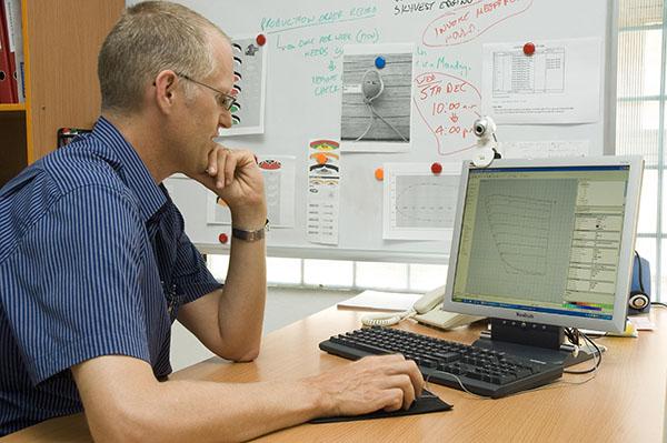 David working on PC