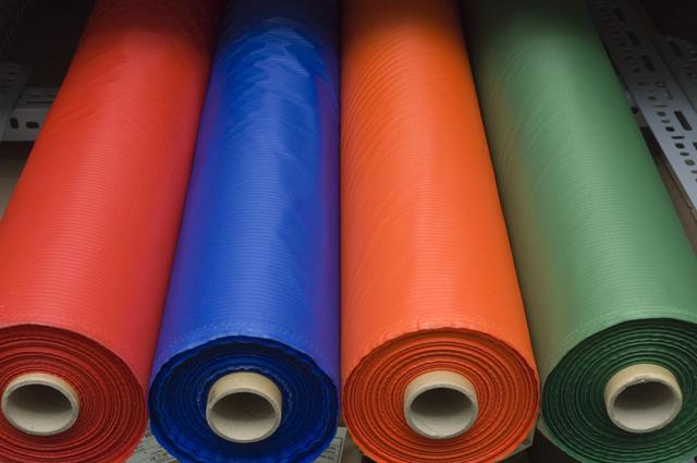Rolls of coloured fabric1